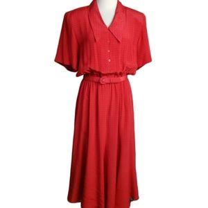 Vintage Liz Claiborne 100% Silk Polka Dot Dress 10